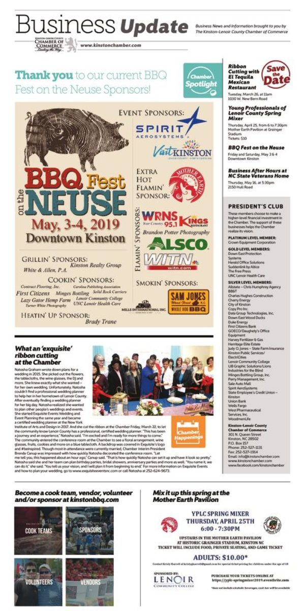 Current Business Update Newsletter Thumbnail Of Kinston Chamber Page 3 27 19